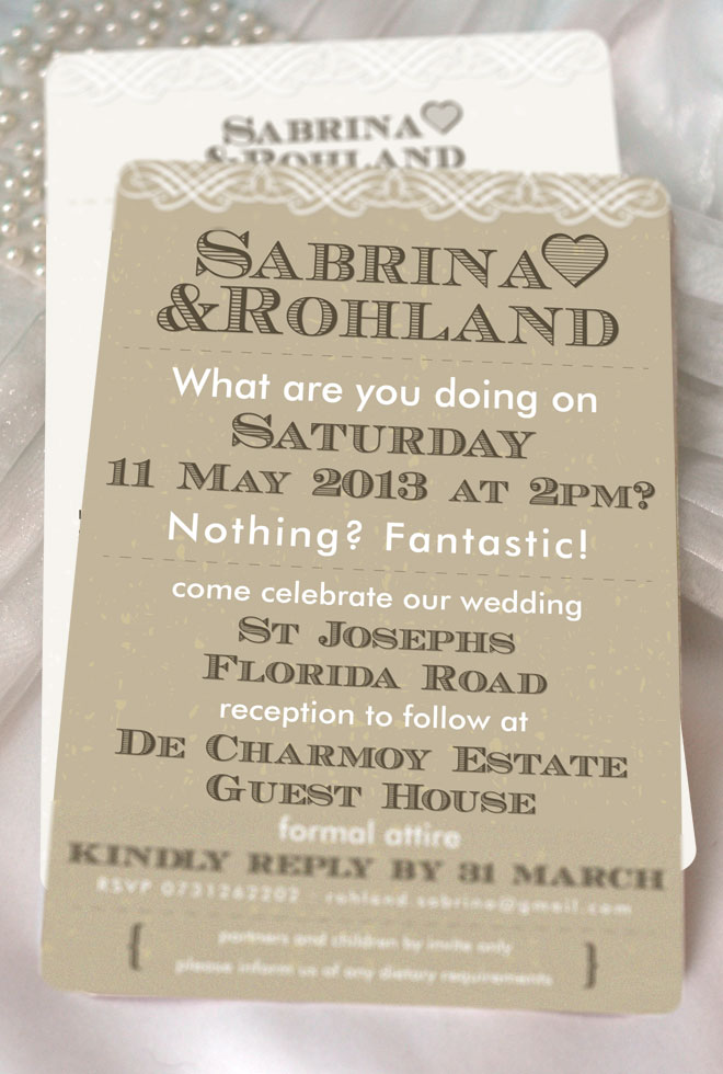 Sabrina+Rohland Wedding Invitation